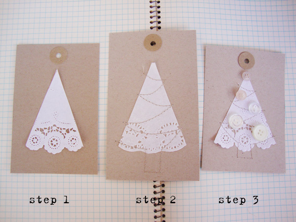 Three steps of doily tree